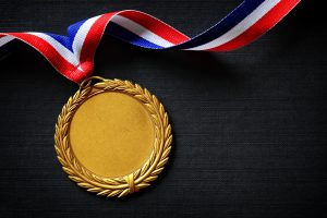 Gold medal concept for winning or success