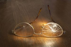 cracked eyeglass lens